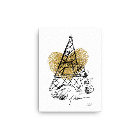 I Heart Paris with Faux Gold Glitter Heart on Canvas