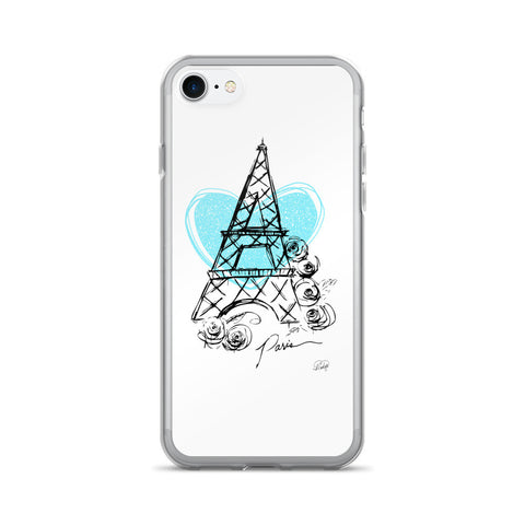 I Heart Paris with Blue Heart on an iPhone 7/7 Plus Case
