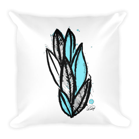 Abstract Wild Plant with a Hint of Blue Square Pillow