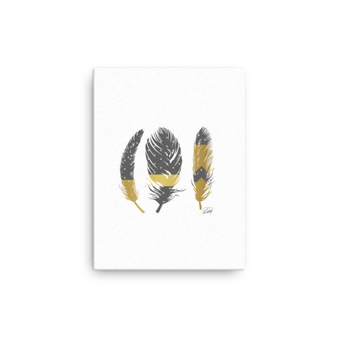 3 Feathers with Faux Gold on Canvas