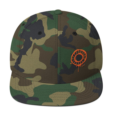 Abstract Circle in Orange on Camo Wool Blend Snapback Cap