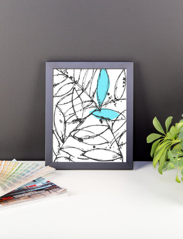 Abstract Plants with a Hint of Blue Framed