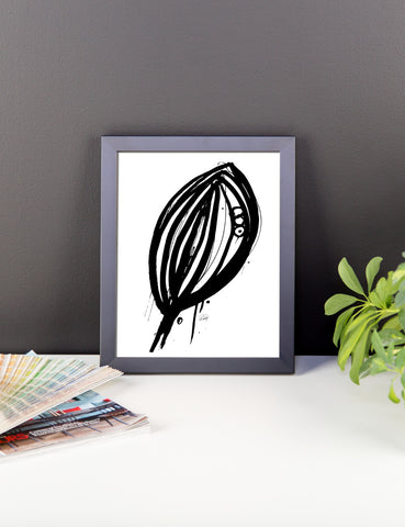 Abstract Leaf in Black & White Framed