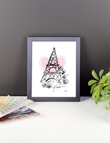 I Heart Paris with Pink Heart Framed