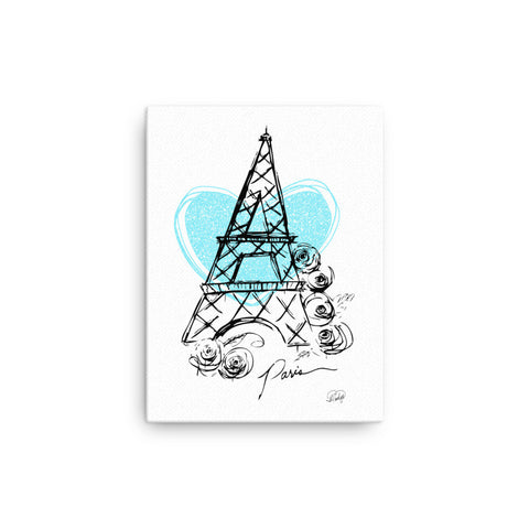 I Heart Paris with Blue Heart on Canvas