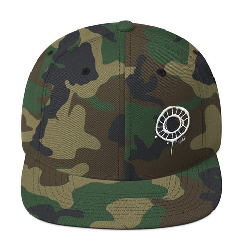 Abstract Circle in White on Camo Wool Blend Snapback Cap