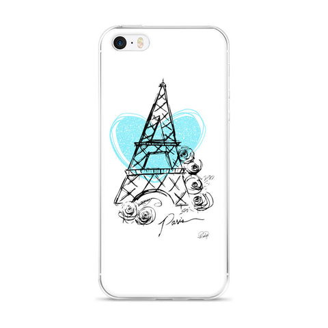 I Heart Paris with Blue Heart on an iPhone 5/5s/Se, 6/6s, 6/6s Plus Case