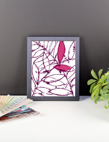 Abstract Plants in a Pink Framed