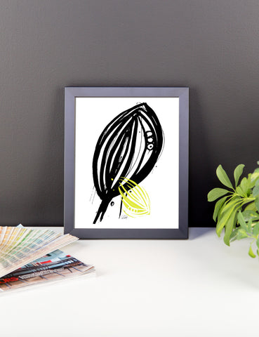 Abstract Leaf with a Hint of Color Framed