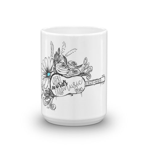 Music Speaks in Gray & Blue on a 15oz Mug