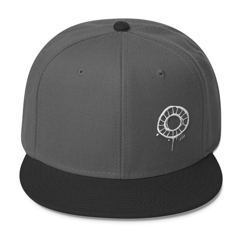 Abstract Circle (White) Wool Blend Snapback