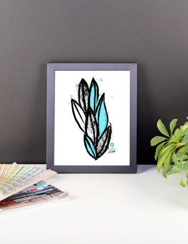 Abstract Wild Plant with a Hint of Blue  Framed