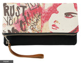Trust in You Fold-Over Clutch on Black Linen