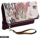 Trust in You (Muted Colors) Fold-Over Clutch on Eggplant Linen