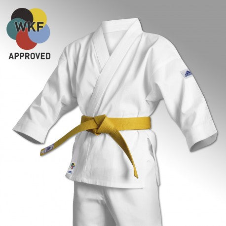 adidas Official WKF Approved Student Karate White 8oz With Free White belt