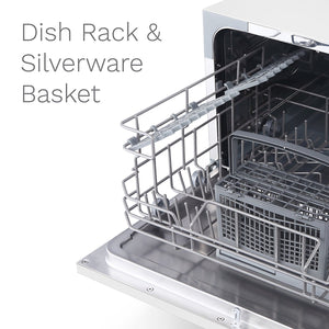 With dish rack and silverware basket