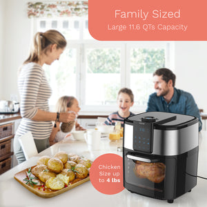 hOme air fryer oven features a large 11.6 QTs capacity