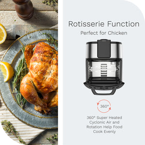 hOme air fryer oven features a rotisserie function
