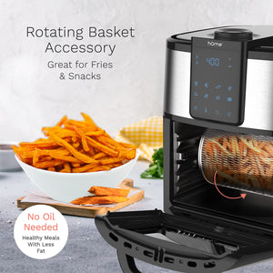 hOme air fryer oven rotating basket which is great for fries and snacks