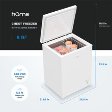 Load image into Gallery viewer, 5 Cubic Feet Chest Freezer