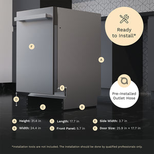 18 Inch Wide Built-In Dishwasher with Stainless Steel Front Door dimensions installation ready