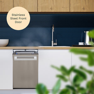 18 Inch Wide Built-In Dishwasher with Stainless Steel Front Door in the kitchen