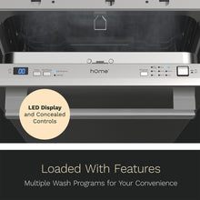 Load image into Gallery viewer, 18 Inch Wide Built-In Dishwasher with Stainless Steel Front Door full LED display
