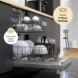 18 Inch Wide Built-In Dishwasher with Stainless Steel Front Door nine place settings and adjustable upper basket