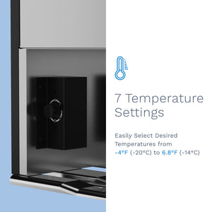 hOme cubic feet upright freezer has 7 temperature settings