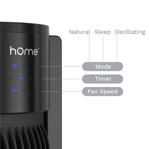black remote controlled portable tower fan controls mode timer fan speed