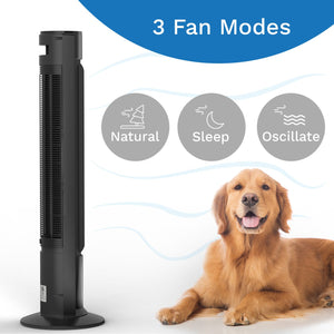black remote controlled portable tower fan three fan modes natural sleep obcillate