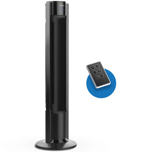black remote controlled portable tower fan
