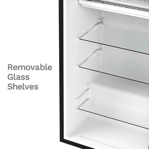 With removable glass shelves