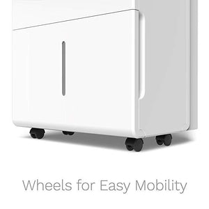 white home 50 pint dehumidifier wheels for easy mobility
