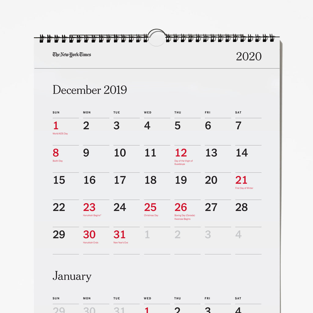 2020 Three-Month Calendar