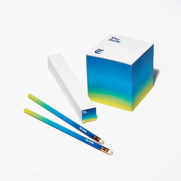 """The Daily"" Note Cube With Pencil Set"