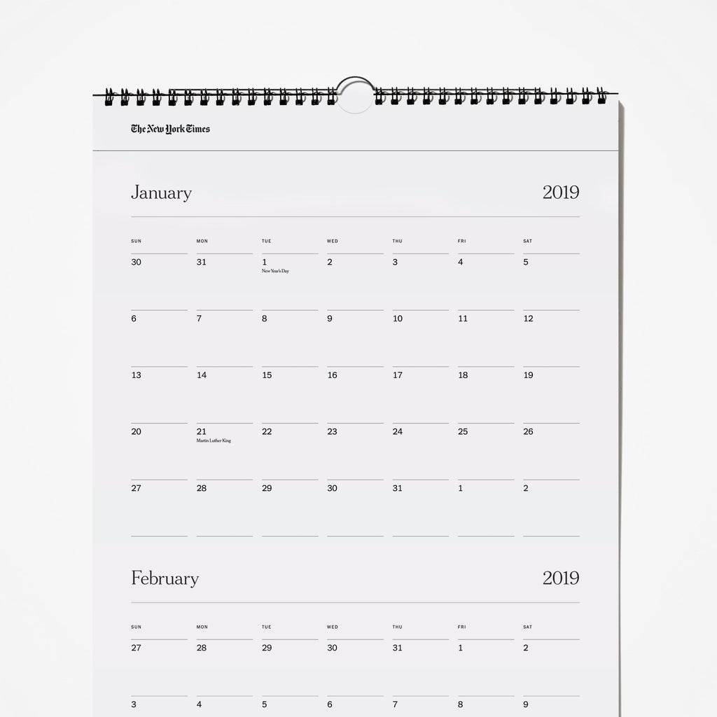 2019 Three-Month Calendar