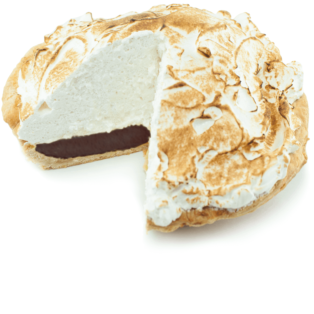 Sliced Supernatural Chocolate Meringue Pie from The Pie Hole