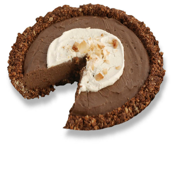 Sliced Vegan Chocolate Hazelnut Cream Pie from The Pie Hole
