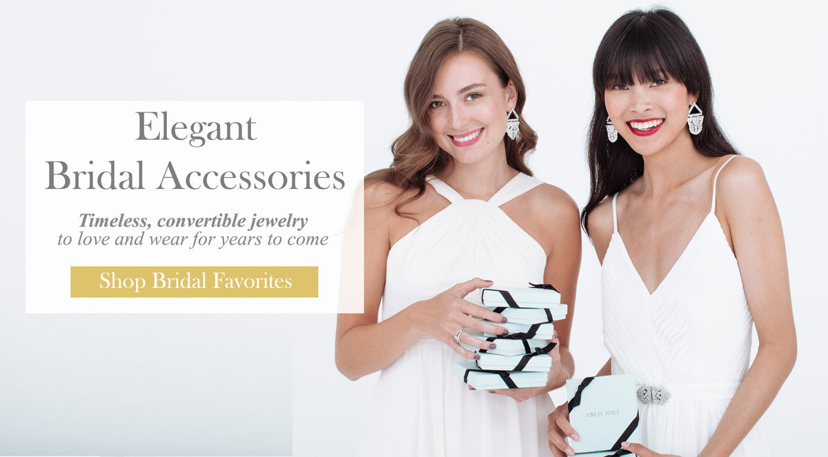 Elegant bridal jewelry and bridesmaids gifts including chandelier earrings, brooches, dress clips, and jeweled hair combs.