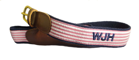 Cool classic Monogrammed seersucker belts on navy webbing. GREAT GIFT!