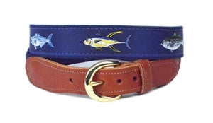 Boys popular Big Game Fish Ribbon Belt on navy webbing finished with a brass buckle.