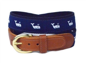 Boys white whale ribbon belt on navy webbing is a staple for every prepster