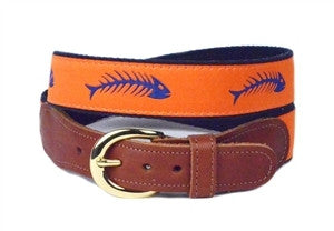 Unique boys ribbon belt with royal blue fish bones on an orahnge background