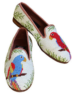 The parrot needlepoint loafer is a Jimmy Buffet favorite. It can be yours as well.