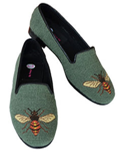 Sage green Bee Needlepoint loafer a Garden Club Favorite
