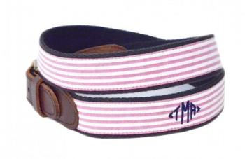 Monogrammed Seersucker Belt - Red and White | Designs by Lillie