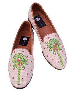 Misses Needlepoint Shoes Preppy Palm on Sand