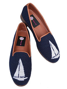 Misses Needlepoint Custom Sloop on Navy| Designs by Lillie