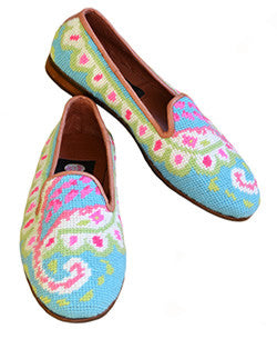 "<img src=""needlepoint loafer.jpeg ""alt=""misses handstiched paisley needlepoint loafer in pink and blues"">"